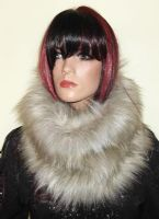 Beige Faux Fur Snood in Soft Long Fur